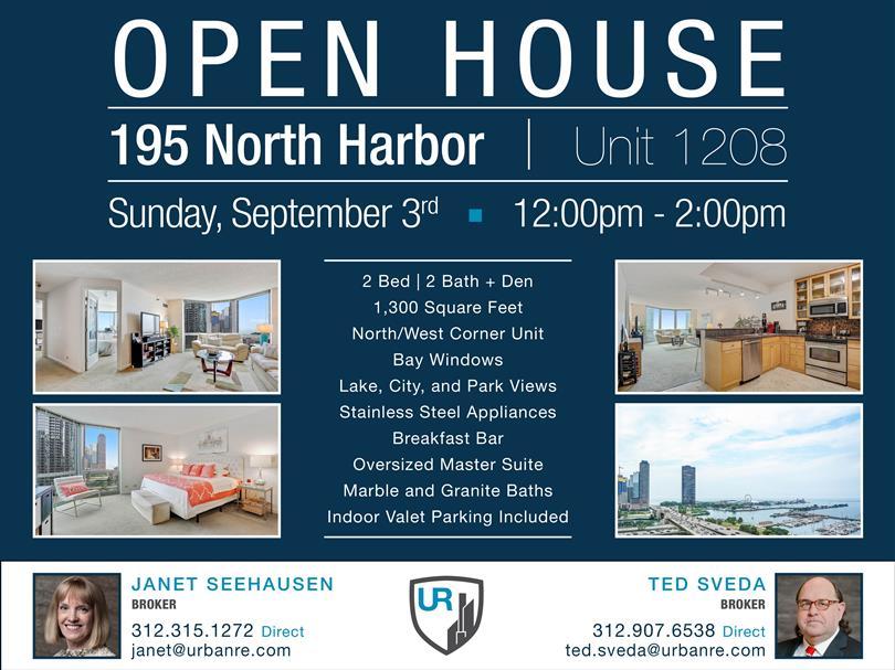 Open House Sunday, September 3rd at 195 N Harbor!