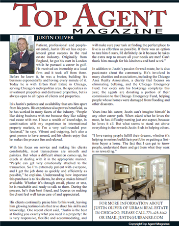 Urban's Own Justin Oliver Featured in Top Agent Magazine